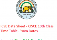 ICSE Date Sheet 2019 - CISCE 10th Class Time Table, Exam Dates