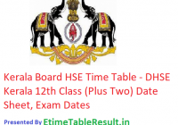 Kerala Board HSE Time Table 2019 - DHSE Kerala 12th Class { Plus Two } Date Sheet, Exam Dates