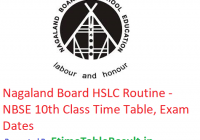 Nagaland Board HSLC Routine 2019 - NBSE 10th Class Time Table, Exam Dates
