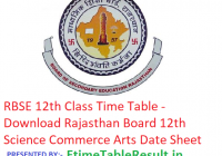 RBSE 12th Class Time Table 2019 - Download Rajasthan Board 12th Science Commerce Arts Date Sheet, Exam Dates