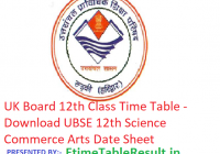 UK Board 12th Class Time Table 2019 - Download UBSE 12th Science Commerce Arts Date Sheet, Exam Dates