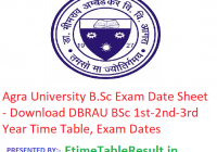Agra University B.Sc Time Table 2019 - Download DBRAU Bsc 1st-2nd-3rd Year Date Sheet, Exam Dates