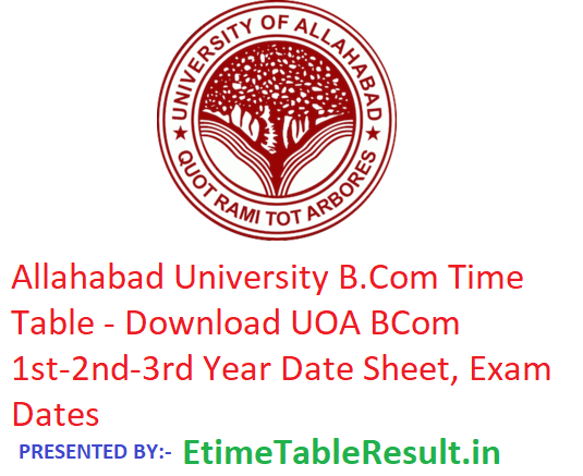 Allahabad University B.Com Time Table 2019 - Download BCom 1st-2nd-3rd Year Date Sheet UOA, Exam Dates