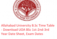 Allahabad University B.Sc Time Table 2019 - Download 1st-2nd-3rd Year Date Sheet UOA, Exam Dates