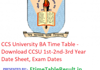 CCS University BA Time Table 2019 - Download CCSU 1st-2nd-3rd Year Date Sheet, Exam Dates