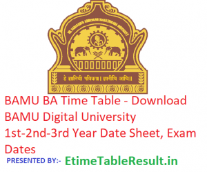 BAMU BA Time Table 2019 - Download 1st-2nd-3rd Year Date Sheet, Exam Dates