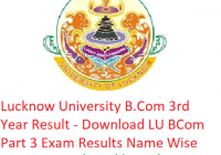 Lucknow University B.Com 3rd Year Result 2019 - Download LU BCom Part 3 Exam Results