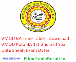VMOU BA Time Table 2019 - Download 1st-2nd-3rd Year Date Sheet, Exam Dates