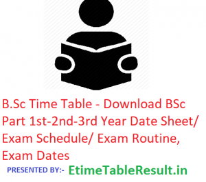 B.Sc Time Table 2019 - Download BSc 1st-2nd-3rd Year Date Sheet/Schedule/Routine, Exam Dates