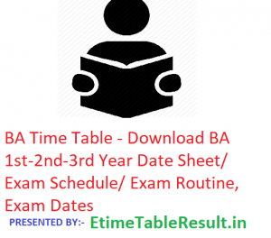 BA Time Table 2019 - Download BA 1st-2nd-3rd Year Date Sheet/Schedule/Routine, Exam Dates