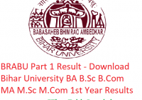 BRABU Part 1 Result 2019 - Download BA B.Sc B.Com MA M.Sc M.Com Results Bihar University
