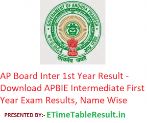AP Board Inter 1st Year Result 2019 - Download APBIE Intermediate First Year Results, Name Wise