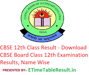 CBSE 12th Class Result 2019 - Download CBSE Board Class 12 Exam Results, Name Wise