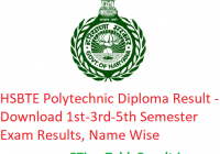 HSBTE Polytechnic Diploma Result 2018-19 - Download 1st-3rd-5th Sem Results, Name Wise