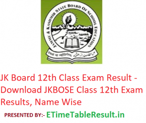 JKBOSE 12th Class Result 2019 - Download JK Board Class 12 Exam Results, Name Wise