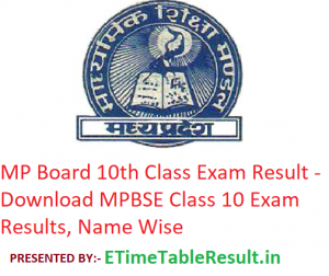 MP Board 10th Class Result 2019 - Download MPBSE Class 10 Exam Results, Name Wise