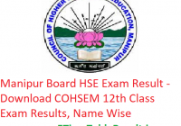 Manipur Board HSE Result 2019 - Download COHSEM 12th Class Exam Results, Name Wise
