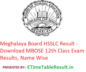 Meghalaya Board HSSLC Result 2019 - Download MBOSE 12th Class Exam Results, Name Wise
