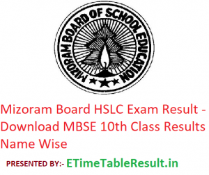 Mizoram Board HSLC Result 2019 - Download MBSE 10th Class Exam Results, Name Wise