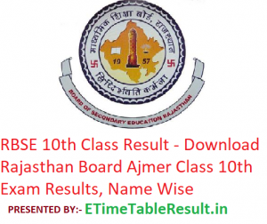 RBSE 10th Class Result 2019 - Download Rajasthan Board Ajmer Class 10 Exam Results, Name Wise