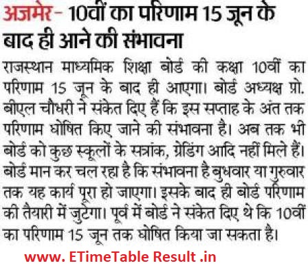 Rajasthan Board 10th Class Results 2019 Download Online