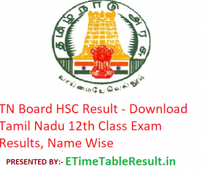 TN Board HSC Result 2019 - Download Tamil Nadu 12th Class Exam Results, Name Wise