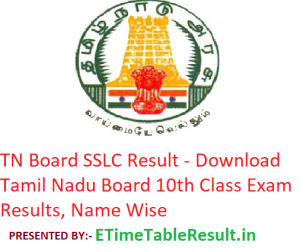 TN Board SSLC Result 2019 - Download Tamil Nadu 10th Class Exam Results, Name Wise