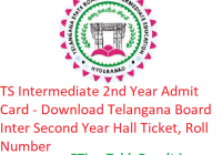 TS Intermediate 2nd Year Admit Card 2019 - Download Telangana Inter Second Year Hall Ticket, Roll No