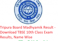 Tripura Board Madhyamik Result 2019 - Download TBSE 10th Class Exam Results, Name Wise
