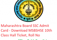 Maharashtra Board SSC Admit Card 2019 - Download MSBSHSE 10th Class Hall Ticket Roll No