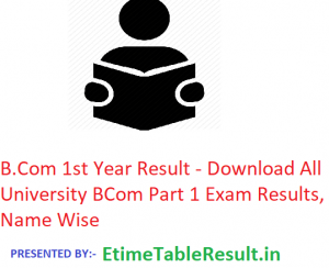 B.Com 1st Year Result 2019 - Download All University BCom Part 1 Exam Results, Name Wise