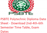 PSBTE Polytechnic Diploma Date Sheet 2019 - Download 2nd-4th-6th Semester Time Table, Exam Dates