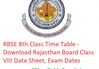 RBSE 8th Class Time Table 2019 - Download Rajasthan Board Class VIII Date Sheet, Exam Dates
