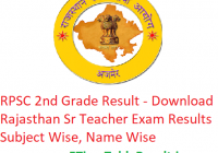 RPSC 2nd Grade Result 2018 - Download Rajasthan Sr Teacher Exam Results Subject Wise, Name Wise