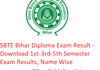 SBTE Bihar Diploma Result 2018-19 - Download 1st-3rd-5th Sem Exam Results, Name Wise