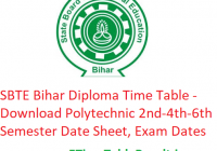 SBTE Bihar Diploma Time Table 2019 - Download Polytechnic 2nd-4th-6th Semester Date Sheet, Exam Dates