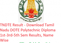 TNDTEResult 2018-19 - Download Tamil Nadu DOTE Polytechnic Diploma 1st-3rd-5th Semester Results, Name Wise