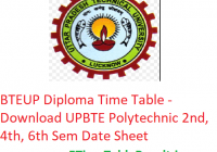 BTEUP Diploma Time Table 2019 - Download UPBTE Polytechnic 2nd-4th-6th Sem Date Sheet, Exam Dates