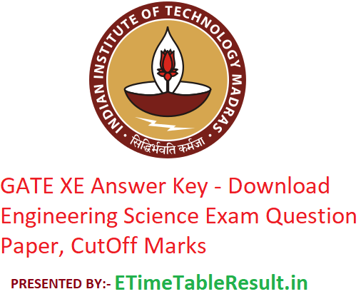 GATE 2019 XE Answer Key - Download 2nd February Engineering Sciences Exam Question Paper, CutOff