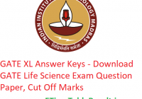 GATE 2019 XL Answer Key - Download 2nd February Life Sciences Exam Question Paper, CutOff