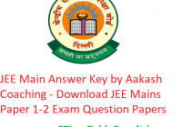 JEE Main Answer Key 2019 Aakash Coaching - Download JEE Mains Paper 1-2 Exam Solutions