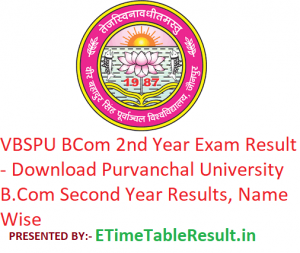 VBSPU B.Com 2nd Year Result 2019 - Download Purvanchal University BCom Second Year Exam Results, Name Wise