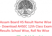 Assam Board HS Result 2019 Name Wise - Download AHSEC 12th Class Exam Results School Wise, Roll No Wise