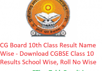 CG Board 10th Class Result 2019 Name Wise - Download CGBSE Class 10 Exam Results School Wise, Roll No Wise