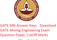GATE 2019 MN Answer Key - Download 2nd February Mining Engineering Exam Question Paper, CutOff