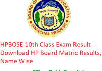 HPBOSE 10th Class Result 2019 - Download HP Board Matric Exam Results, Name Wise