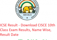 ICSE Result 2019 - Download CISCE 10th Class Exam Results, Name Wise