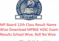 MP Board 12th Class Result 2019 Name Wise - Download MPBSE HSSC Exam Results School Wise, Roll No Wise