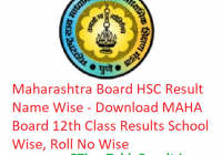 Maharashtra Board HSC Result 2019 Name Wise - Download MAHA Board 12th Class Results School Wise, Roll No Wise