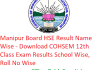 Manipur Board HSE Result 2019 Name Wise - Download COHSEM 12th Class Exam Results Name Wise, Roll No Wise